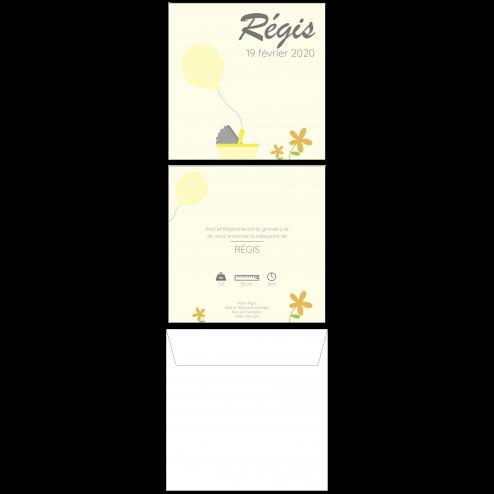 Carte de naissance ballon jaune, 15 x 15 cm, recto-verso