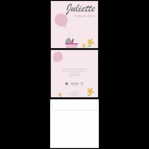 Carte de naissance ballon rose, 15 x 15 cm, recto-verso