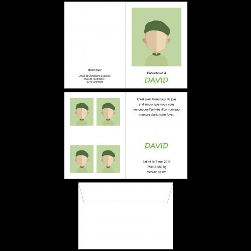 Carte de naissance A6, 4 pages recto-verso