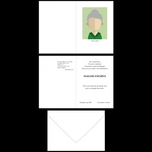 Carte de remerciements deuil A6, 4 pages recto-verso