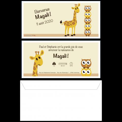 Carte de naissance girafe, 22 x 10.5 cm, recto-verso
