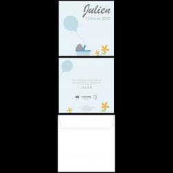 Carte de naissance ballon bleu, 15 x 15 cm, recto-verso